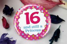 16th Birthday Princess Party Badge