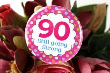 90th Birthday Party Badge - Pink Spots