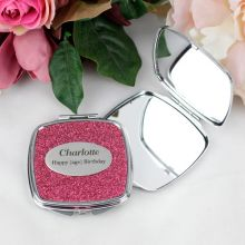 21st Birthday Personalised Glitter Compact Mirror