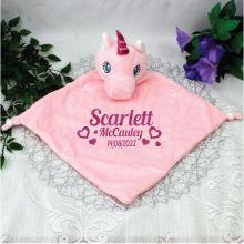Personalised Baby Security Comfoter Blanket - Unicorn