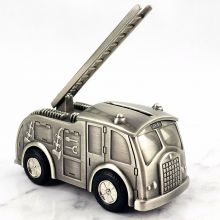 Fire Truck Pewter Money Box
