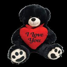 I love You Bear Black Plush with Heart