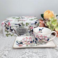 Breakfast Set Cup & Sauce in 90th Birthday Box - Blue Wren