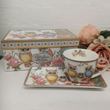 Owl Breakfast Set Cup & Sauce in Birthday Box