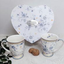 Mug Set in Personalised 80th Heart Box - Blue meadows