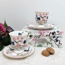 Cup & Saucer Set in Personalised 100th Birthday Box - Blue Wren