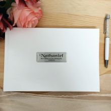 Naming Day Leather Guest Book & Pen