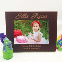 1st Birthday Engraved Wood Photo Frame - Mocha