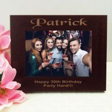 30th Birthday Engraved Wood Photo Frame- Mocha