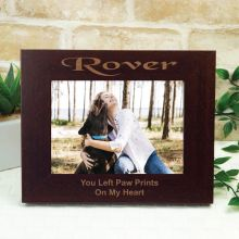 Dog Memorial Engraved Wood Photo Frame- Mocha
