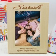 16th Birthday Engraved Wood Photo Frame