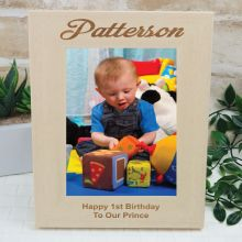 1st Birthday Engraved Wood Photo Frame