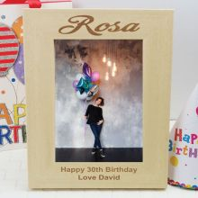 30th Birthday Engraved Wood Photo Frame