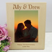 Anniversary Engraved Wood Photo Frame