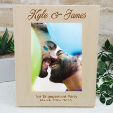 Engagement Engraved Wood Photo Frame