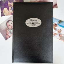 Personalised Baby Birth Details Album 300 Photo Black