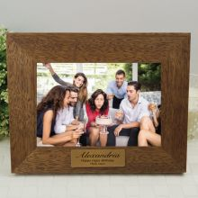Birthday Personalised Teak Photo Frame with Gold Plaque