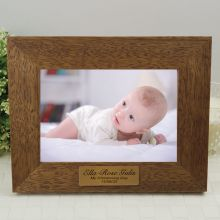 Christening Personalised Teak Photo Frame with Gold Plaque