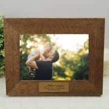 Godfather Personalised Teak Photo Frame with Gold Plaque