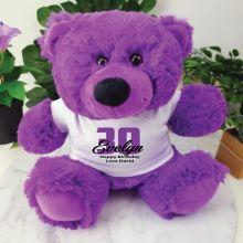Personalised 30th Birthday Teddy Bear Plush Purple