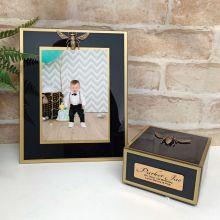 1st Birthday Black Bee 5x7 Frame & Jewel Box Set