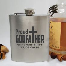 Godfather Engraved Stainless Steel 7oz Flask Personalised Message