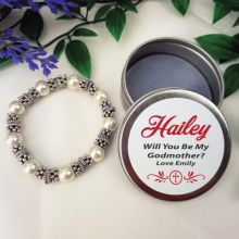 Silver Bracelet with Personalised Godmother Tin