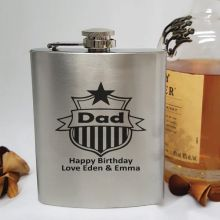 Dad Engraved Silver Flask