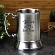 Best Man Engraved Personalised Stainless Beer Stein Glass