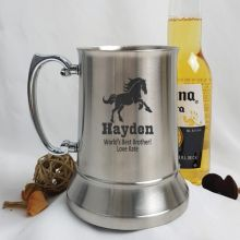 Brother Engraved Personalised Stainless Beer Stein Glass