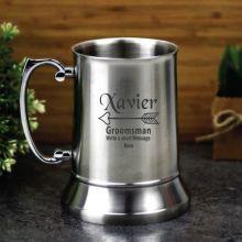 Groomsman Engraved Personalised Stainless Beer Stein Glass