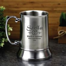 Maid Of Honour Engraved Personalised Stainless Beer Stein Glass
