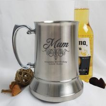 Mum Engraved Personalised Stainless Beer Stein Glass