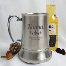 Nana Engraved Personalised Stainless Beer Stein Glass