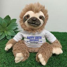 Personalised 100th Birthday  Sloth Plush - Curtis