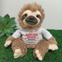 Personalised 16th Birthday  Sloth Plush - Curtis