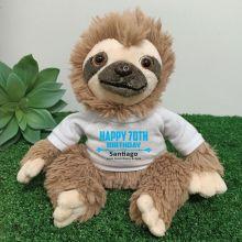 Personalised 70th Birthday  Sloth Plush - Curtis