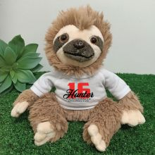 16th Birthday Personalised Sloth Plush - Curtis