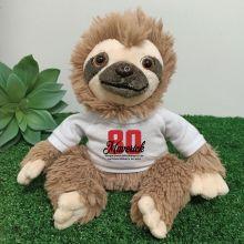 80th Birthday Personalised Sloth Plush - Curtis