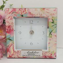 Birthday Glass Desk Clock - Peony