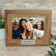21st Personalised Teak Photo Frame with Gold Plaque