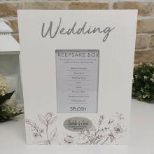 Personalised Wedding Keepsake Box White Wood