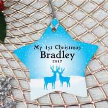 Personalised Baby Boy 1st Christmas Decoration - Star
