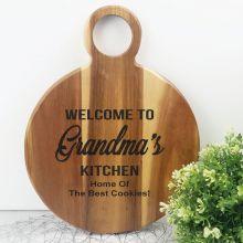 Welcome To The Kitchen Acacia Board - Grandma