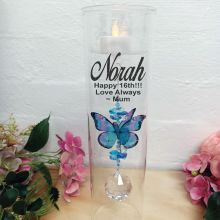16th Birthday Glass Candle Holder Blue Butterfly