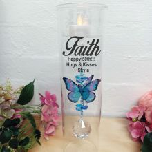 50th Birthday Glass Candle Holder Blue Rainbow Butterfly