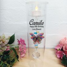 80th Birthday Glass Candle Holder Rainbow Butterfly
