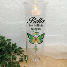 21st Birthday Glass Candle Holder Green Butterfly