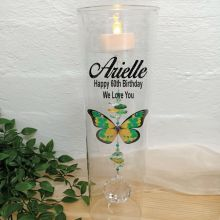 60th Birthday Glass Candle Holder Green Butterfly