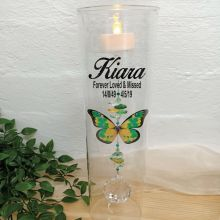 Memorial Glass Candle Holder Green Butterfly
